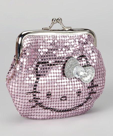 2867653de0f3 Pink Metal Mesh Hello Kitty Kiss Lock Coin Purse