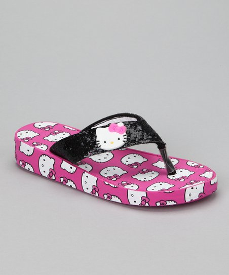 fce6e18cc Black & Pink Hello Kitty Glitter Wedge Flip-Flop - Girls   Zulily