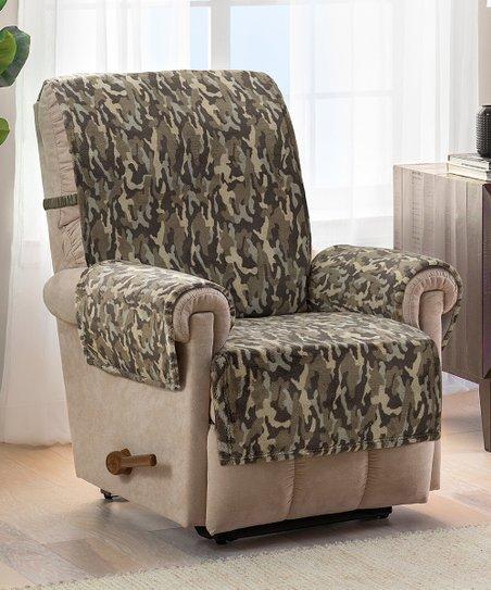 Jeffrey Home Green Camo Plush Recliner, Camo Furniture Covers