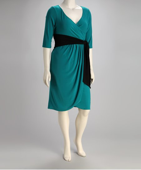 30a6b263c827 KIYONNA Jade Harlow Faux Wrap Plus-Size Dress | Zulily