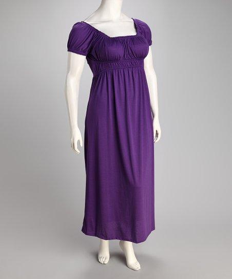 Wrapper Purple Plus-Size Empire-Waist Maxi Dress