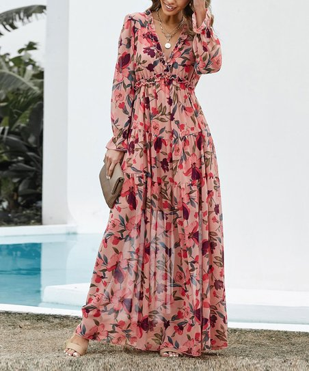 Red & Pink Floral Long-Sleeve V-Neck Maxi Dress - Women