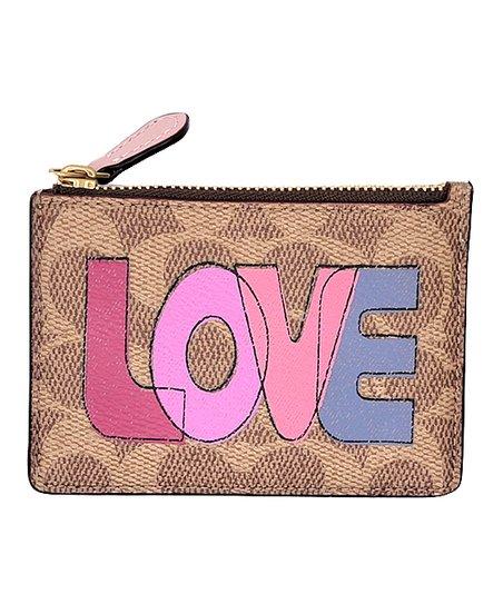 Tan & Pink 'Love' Mini Canvas ID Wallet