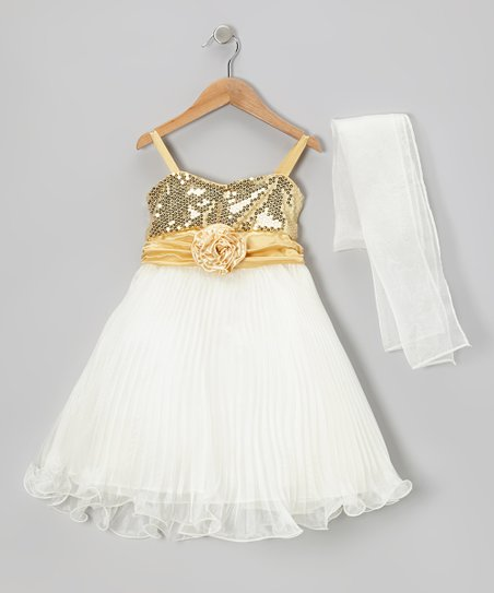 bb7304a9 Sophia Young Gold Sequin Dress & Shawl - Toddler & Girls | Zulily