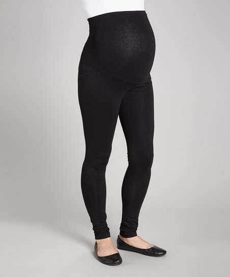 4fbd0960013 Times 2 Black Over-Belly Maternity Leggings - Plus Too