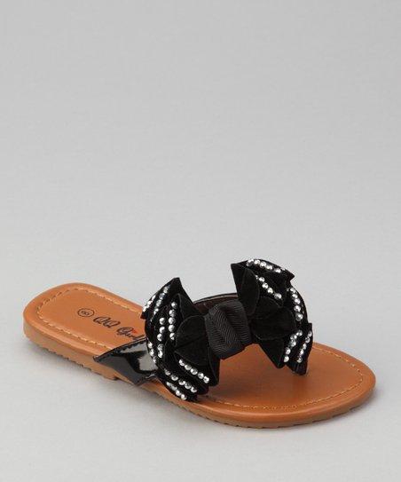 5e155bd383477 QQ Girl Black Rhinestone Bow Play Flip-Flop