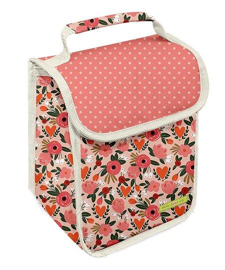 Peach Floral Lunch Bag