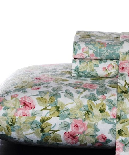 Laura Ashley Home Green Cottage Rose Flannel Sheet Set Best Price And Reviews Zulily