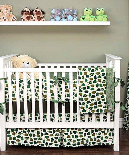 My Blankee Olive Green Turtle Crib Bedding Set