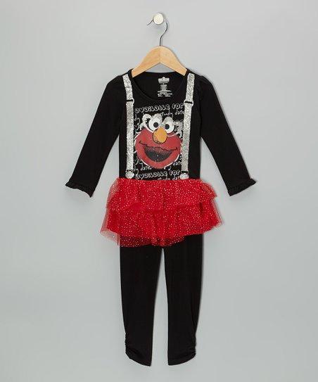 f03c12526cfed Childrens Apparel Network Black Elmo Suspenders Tunic & Leggings ...