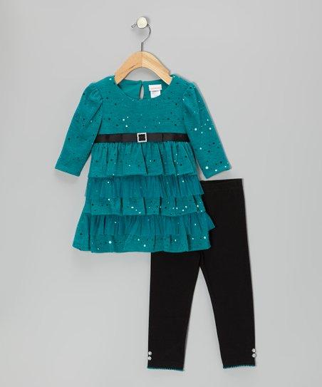 0b2b625c3 Sweet Heart Rose Teal Sparkle Ruffle Dress & Leggings - Infant | Zulily