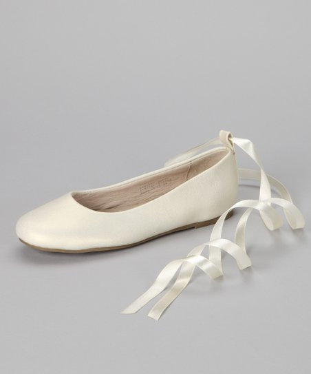 f885df12cdf6 Pazitos Ivory Swan Ribbon-Tie Leather Flat