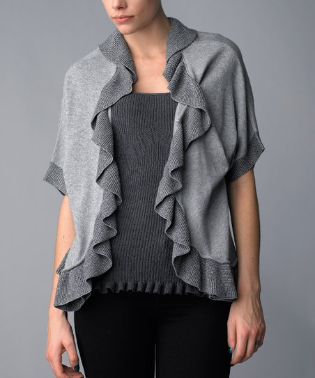 3e58b741c90d6 love this product Silver & Charcoal Ruffle Wool-Blend Layered Top