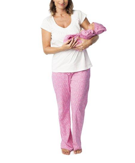 3ecc0b41dc0e love this product Pink Geometric Ava Maternity   Nursing Pajama Set - Women