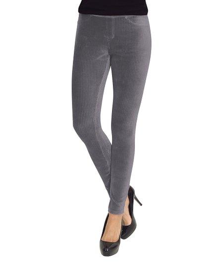 ca2df5caf2eb9 MeMoi Gray Wide Rib Corduroy Leggings - Women | Zulily