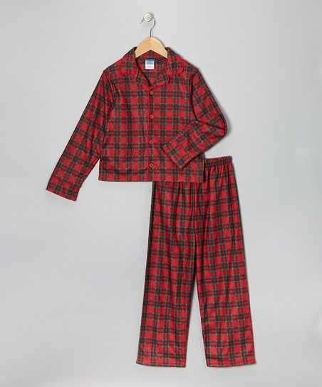1461650bdc love this product Red Plaid Flannel Pajama Set - Boys