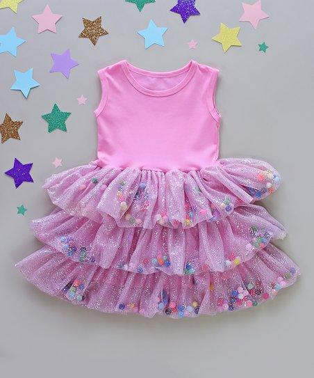Whitney Elizabeth Pink Silver Pom Pom Three Tier Tutu Dress Toddler Girls Best Price And Reviews Zulily