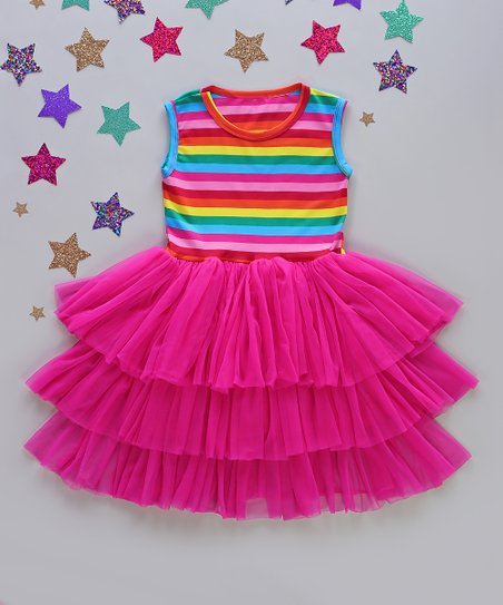 Whitney Elizabeth Pink Blue Stripe Three Tier Tutu Dress Newborn Infant Toddler Best Price And Reviews Zulily