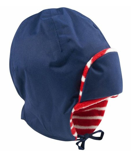 Navy Fleece-Lined Waterproof Trapper Hat