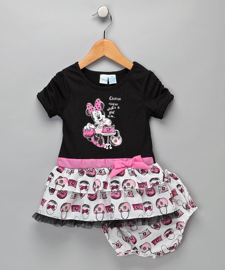 Childrens Apparel Network Minnie Mouse Black White Choices Dress