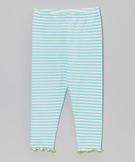 21d30c6c7c113 love this product Aqua & White Stripe Leggings - Infant, Toddler & Girls