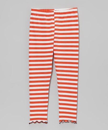 1057be875ae22 love this product Orange & White Stripe Leggings - Toddler & Girls