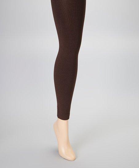 3813ee62096 MeMoi Brown Fleece-Lined Footless Tights