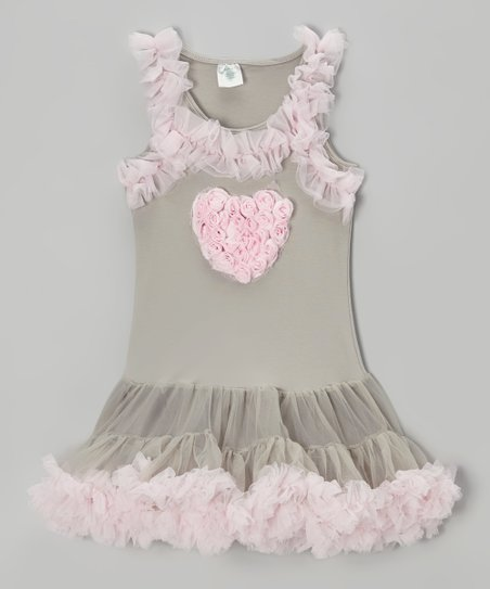 9adad25b25 love this product Gray & Pink Heart Tulle Dress - Infant, Toddler & Girls