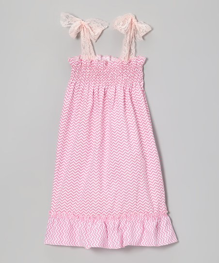 0ca9fb2c9 Bride and Babies Pink & White Zigzag Lace Shirred Dress - Girls | Zulily