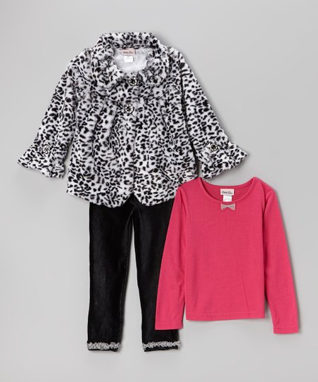 7d2dcf8ca Little Lass Black   White Cheetah Faux Fur Coat Set - Infant ...