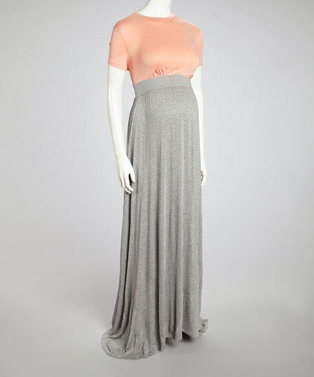 Love This Product Dark Peach Heather Gray Color Block Maternity Maxi Dress Women