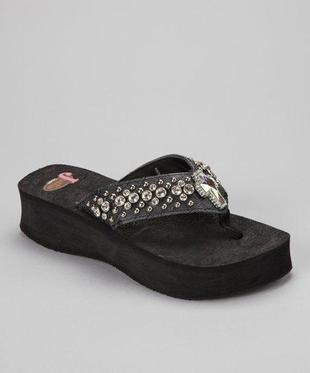 9eac16b163dc76 Justin Boots Black Suzi Cross Flip-Flop - Women
