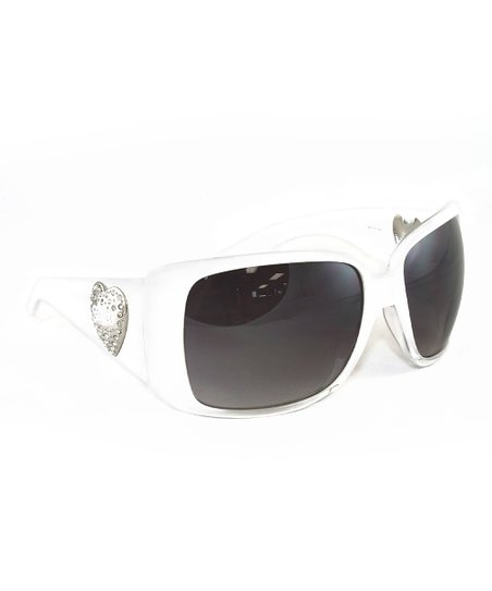 cf4163f551a GUESS White Crystal Heart Sunglasses - Women