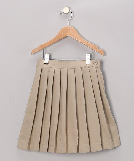 3fa283c9115441 Genuine School Uniform Khaki Pleated Skirt - Kids & Tween   Zulily