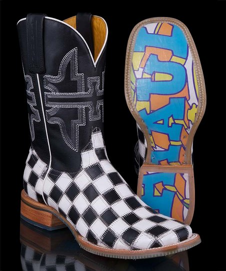 White Checkerboard Cowboy Boot- Women
