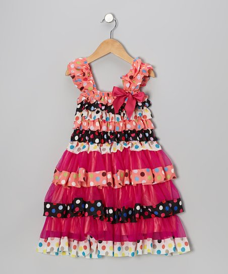 5a79994668f Tutus by Tutu and Lulu Coral Confetti Tier Ruffle Dress - Toddler ...