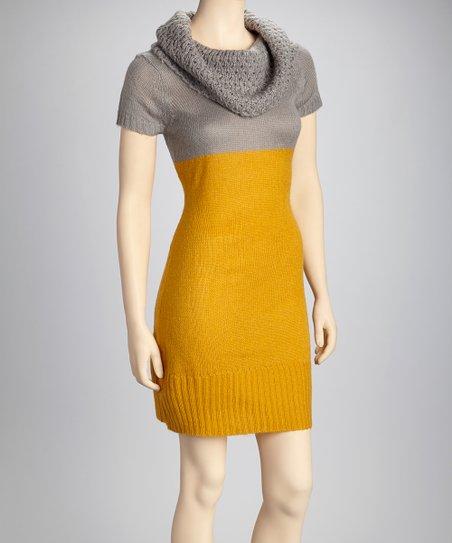 9039574c4cb love this product Mustard   Gray Sweater Dress