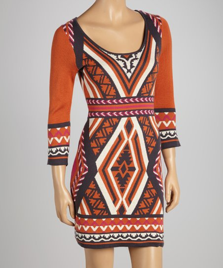 bef057fbe36 love this product Orange   Gray Tribal Bodycon Sweater Dress