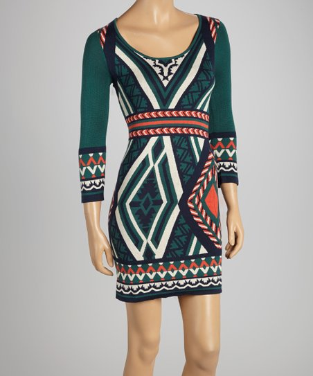 7d0c2d9c2f0 Flying Tomato Dark Green   Navy Tribal Bodycon Sweater Dress