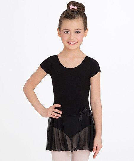 eed881676 Capezio Black Bow Short-Sleeve Skirted Leotard - Toddler   Girls ...