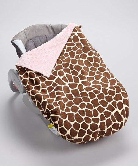 Giraffe Baby Pink Minky Car Seat Blanket