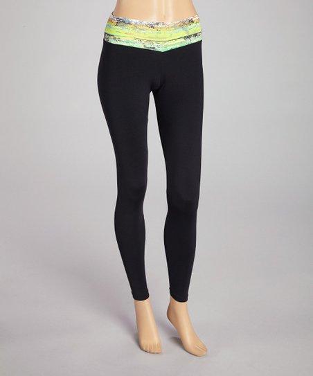 b174747cedc9a Bluefish Sport Black & Yellow Chill Leggings - Women   Zulily
