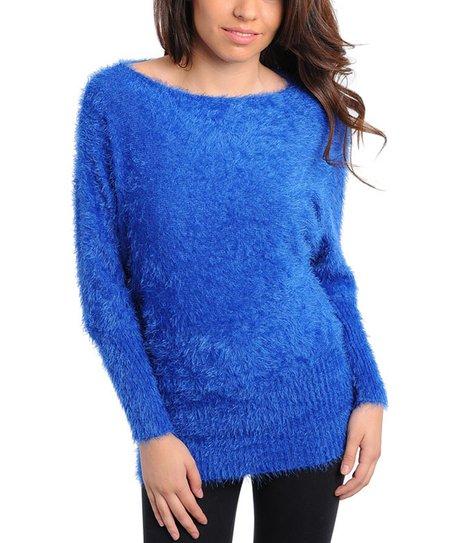 Royal Blue Fuzzy Sweater