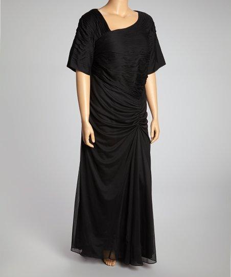 83eba80e813 Marina Clothing Black Gathered Maxi Dress - Plus