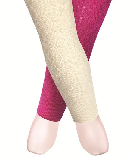 69fbbcb73eb20 love this product Fuchsia & Cream Cable-Knit Tights Set - Infant, Toddler &  Girls