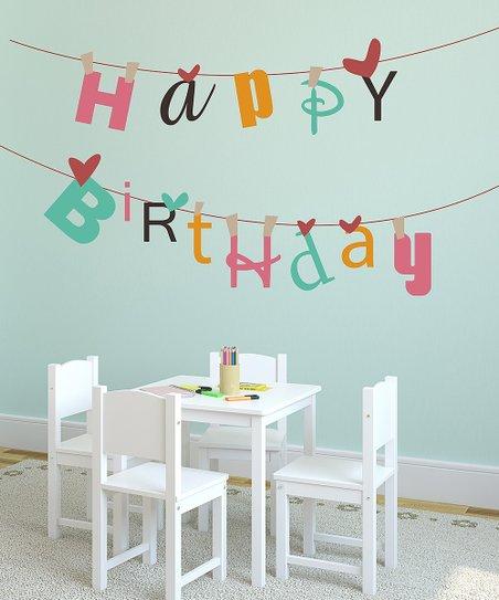 Lollipop Walls Hy Birthday Banner Reusable Wall Decal