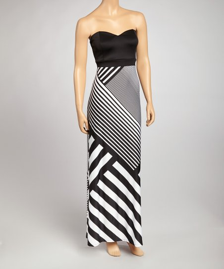 943334b3dfbf love this product Black & White Asymmetrical Stripe Strapless Maxi Dress