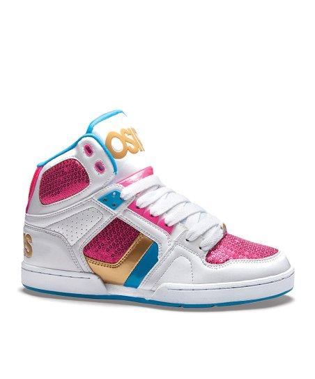 64f8dc8c68cf12 love this product White   Pink NYC 83 Slim Hi-Top Sneaker - Kids