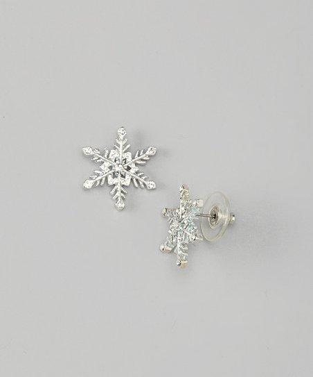 White Gold Snowflake Stud Earrings