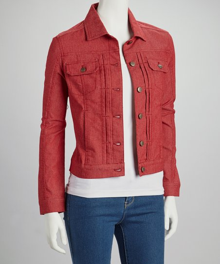 e30522788cb love this product Red Denim Jacket - Women